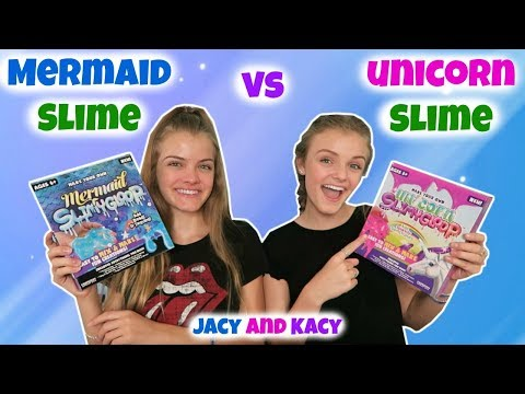 Thumbnail: Mermaid Slime vs Unicorn Slime ~ Save or Spend ~ Jacy and Kacy