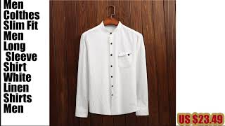 Men Colthes Slim Fit Men Long Sleeve Shirt White Linen_hofago.com