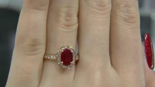 1.78 Carat Oval Cut Ruby and Diamond Halo Engagement Ring GR022 thumbnail