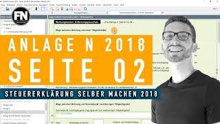 Anlage N 2018 Seite 2 | Steuererklärung 2018 selber machen - Werbungskosten Elster ausfüllen