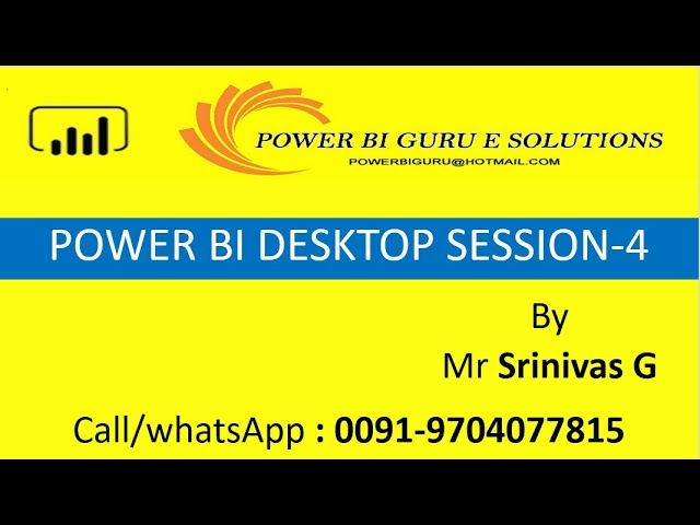 Introduction to PowerBI -Session 4|Power BI Training in India,Dubai,US,canada,UK,australia,Singapore