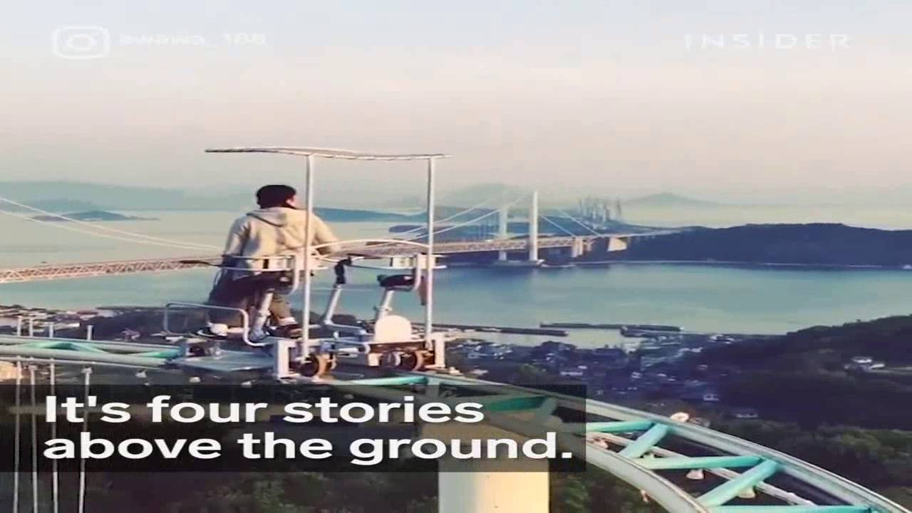 This Horrifying Roller Coaster In Japan Is Pedal Powered YouTube - Pedal powered skycycle rollercoaster japan amazing