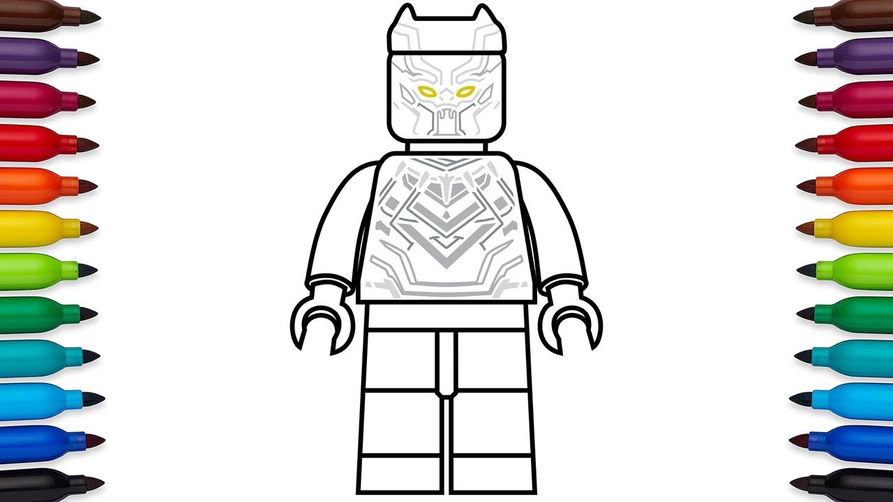 How to draw Lego Black Panther