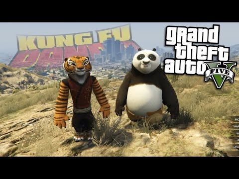 GTA 5 Mods - KUNGFU PANDA MOD w/ PO & TIGRESS (GTA 5 Mods Gameplay)