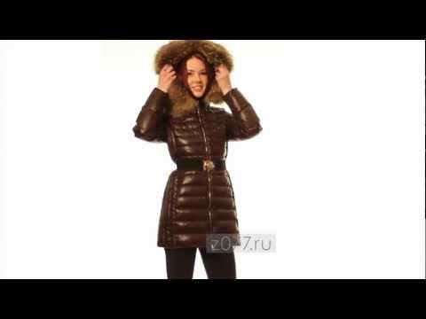 Женский пуховик Moncler  087 коричневый