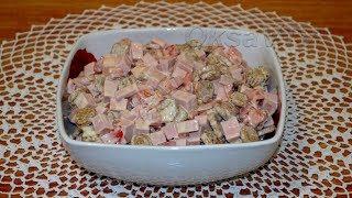"Салат с колбасой и сухариками ""Пятиминутка"". Salad with sausage and crackers ""Five minutes""."
