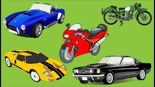 Aprender cores com carro e moto para crianças