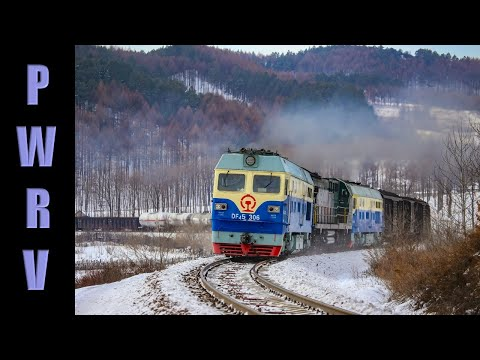 Chinese Trains - Diesel Trains Storming The Nancha Bank, Triple Header Freight