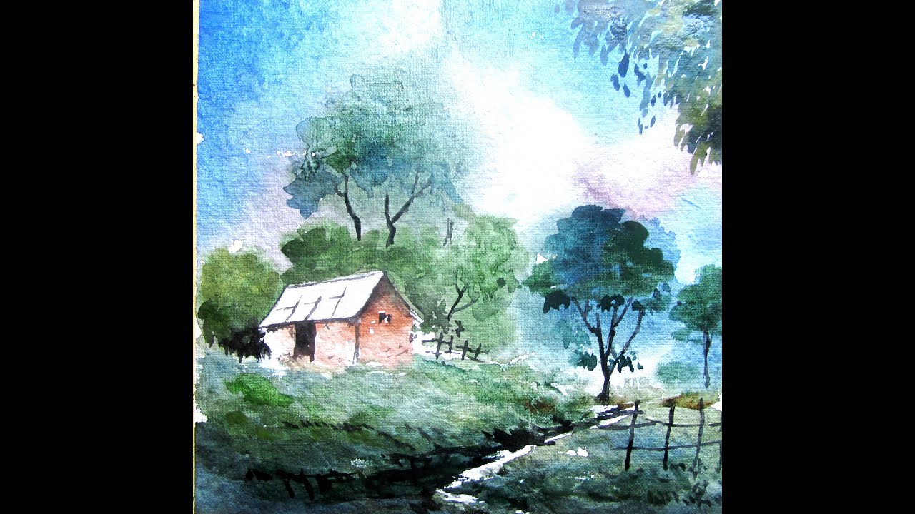 How to paint landscape painting watercolor painting for How to watercolor for beginners