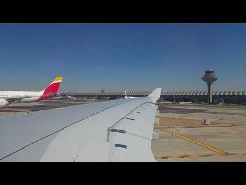 IB6889 Madrid - Shanghai: taxi and take off from Madrid Airport. Runway: 36L