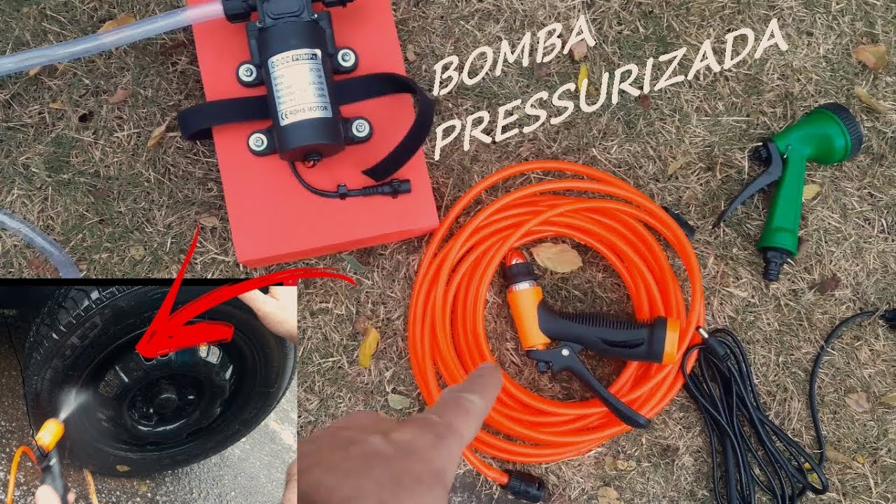 Bomba pressurizada, lavar carro, chuveiro de camping, etc...