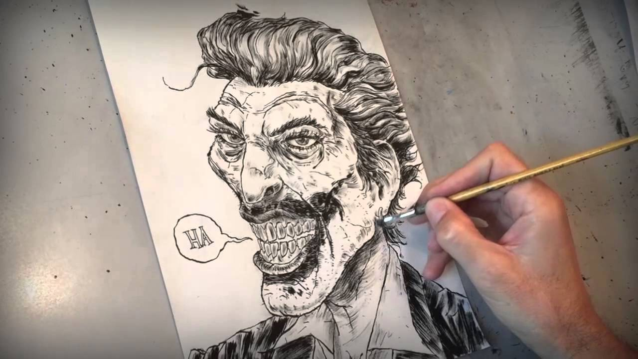 Joker Scribble Drawing : The joker s wild original ink drawing making of video youtube