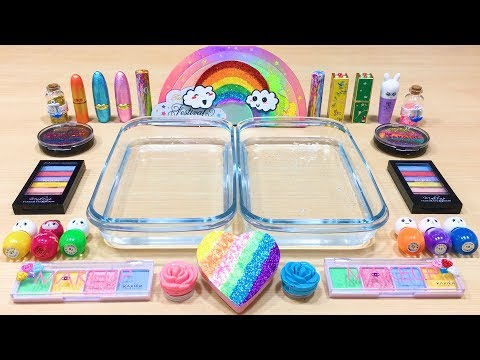 RAINBOW ! Mixing Makeup Eyeshadow into Clear Slime ! Special Series #88 Satisfying Slime Videos