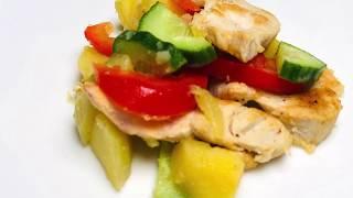 Теплый салат с куриным филе и болгарским перцем | Warm salad with chicken fillet and bell pepper
