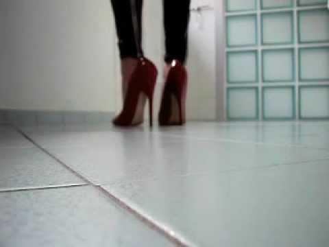 Walking In 6 Inch Red High Heels Pumps