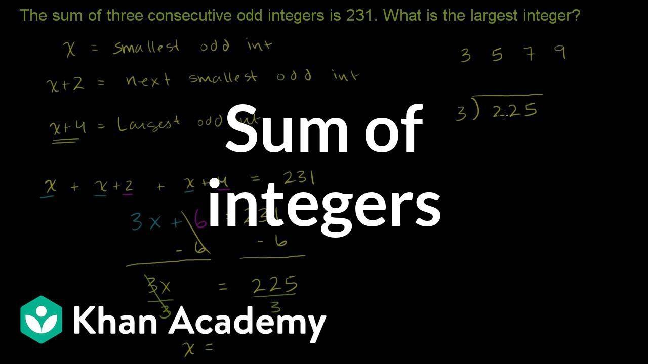 Challenge Example Sum Of Integers Linear Equations Algebra I