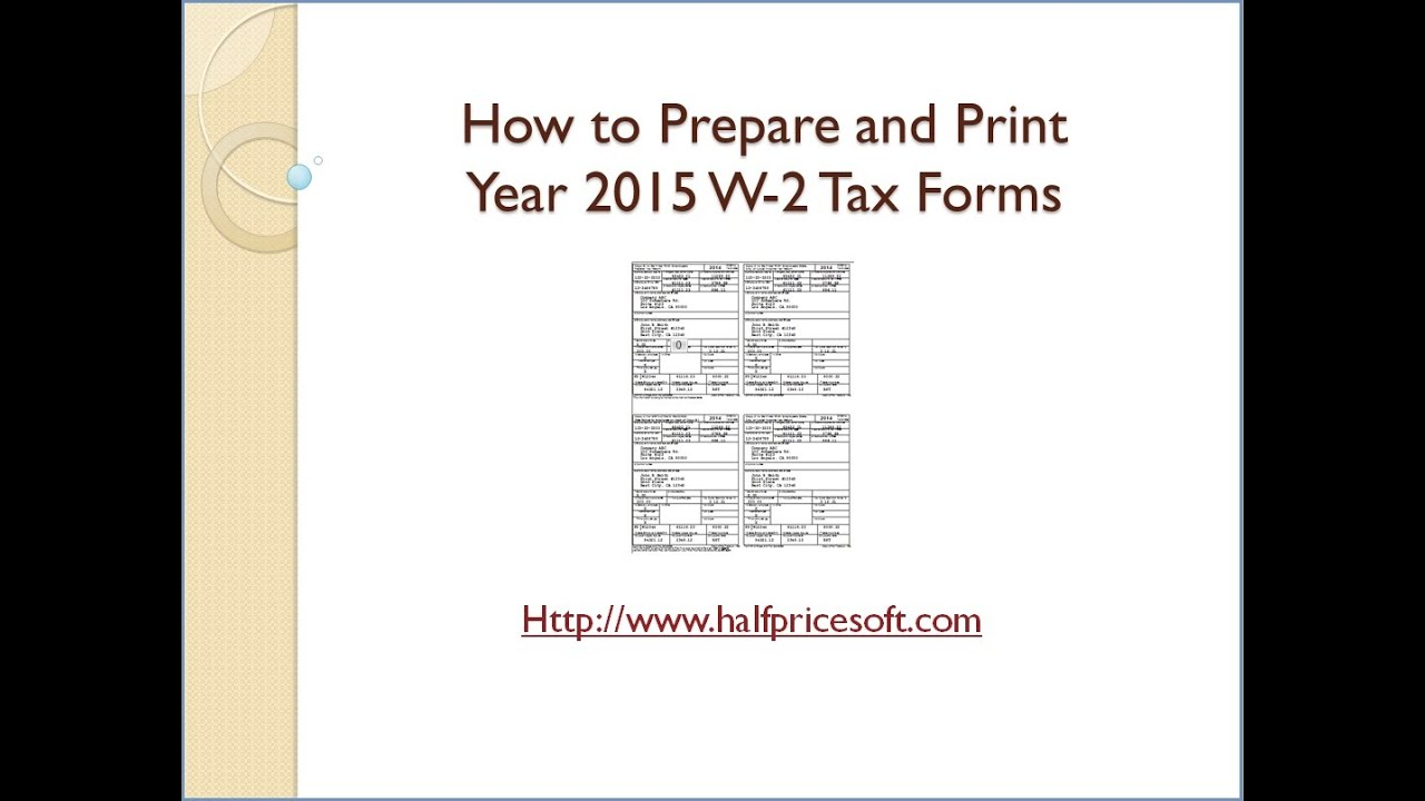 How to Print 2015 W2 Form - YouTube