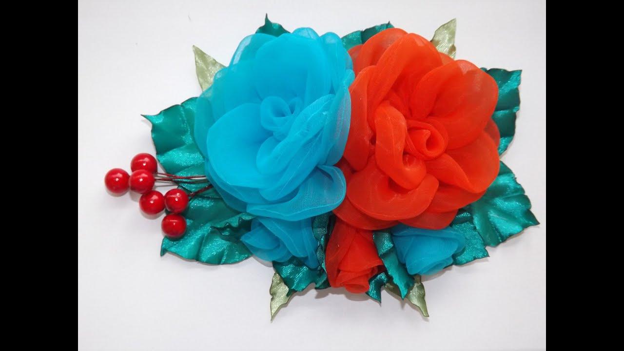 Цветы из капроновых лент своими руками