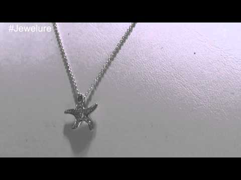 Sterling Silver CZ Micropave Starfish Sea Star Pendant Necklace Set