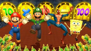 Mario Party 9 MiniGames - Luigi Vs Mario Vs Spider Man Vs SpongeBob (Master Cpu)