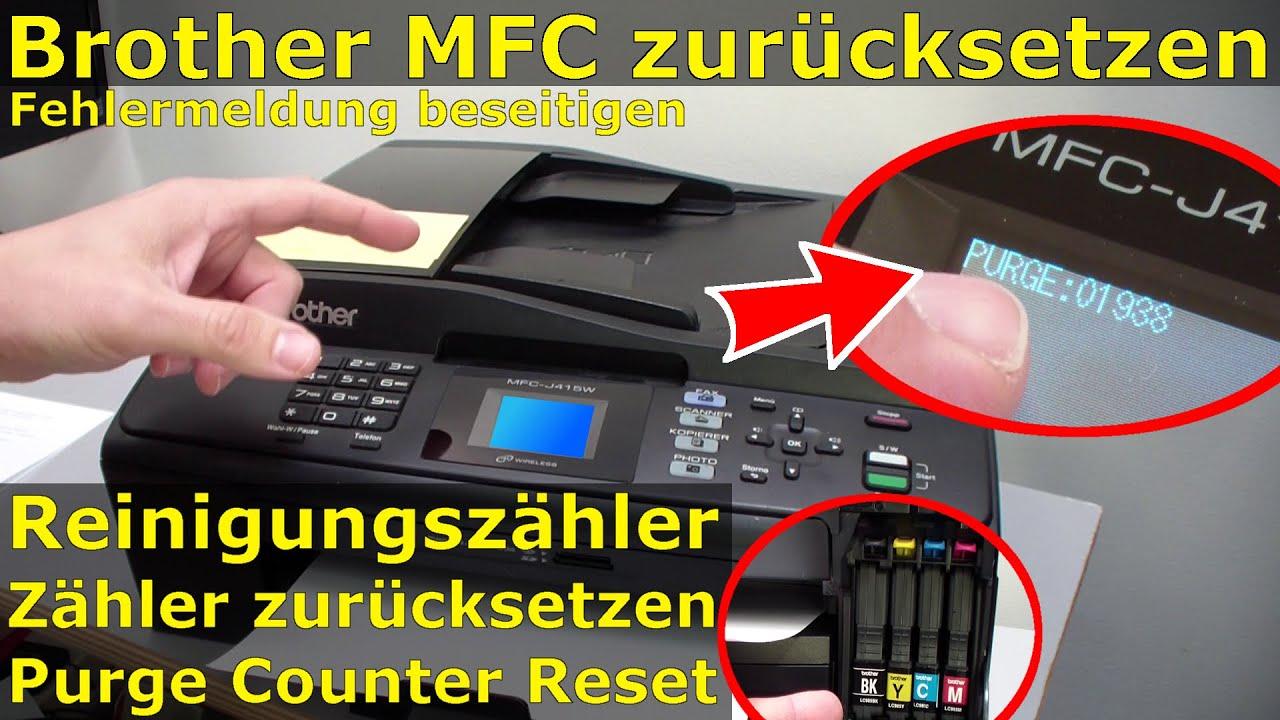 Brother MFC Reinigungszähler zurücksetzen - Purge Counter Reset - Reinigen