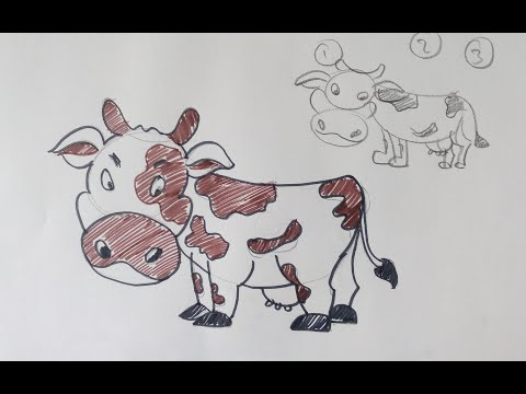 how to draw cow cartoon drawing step by step easy