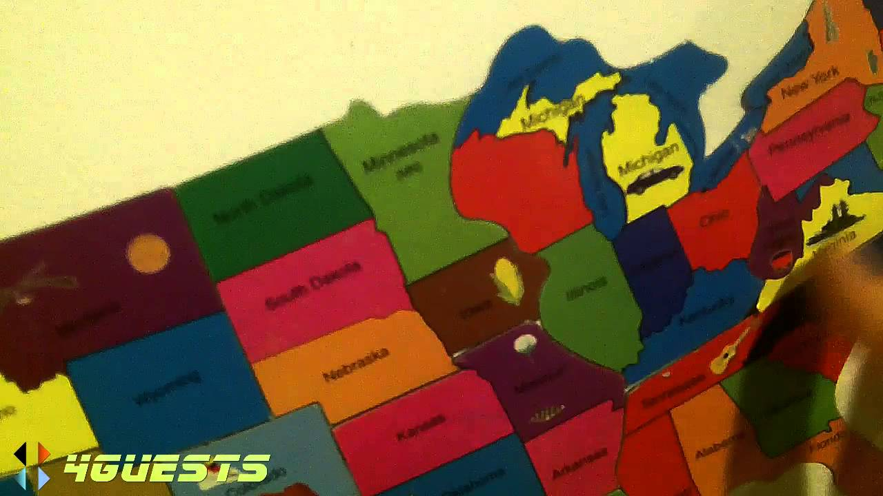 Magnetic USA Puzzle Map   States YouTube - Map usa states drag and drop