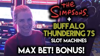 connectYoutube - MAX BET BONUSES! The SIMPSONS and BUFFALO THUNDERING 7s Slot Machine!!!
