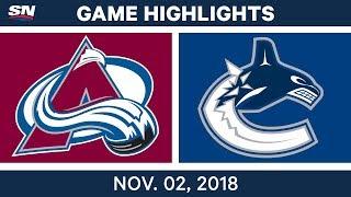 NHL Highlights | Avalanche vs. Canucks – Nov. 2, 2018