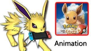 Jolteon plays Let's Go Eevee - Eevee's family #4 part 1 - Pokemon 3D animation