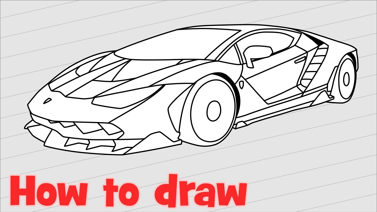 How To Draw A Car Lamborghini Centenario Step By Step Youtube