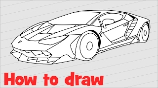 How to draw a car Lamborghini Centenario step by step