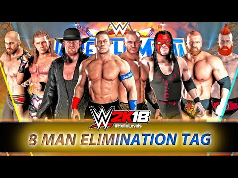 WWE 2K18 8 Man Tag Team Match ft. New HOT TAG Feature And Moves | WWE 2K18 PS4 Gameplay 8 Man Match