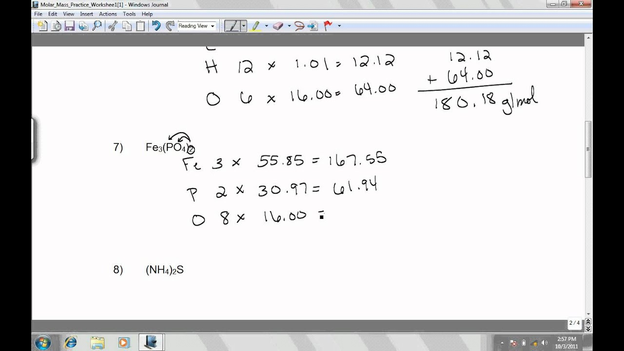 Molar Mass Practice Worksheet 6 To 10 Youtube