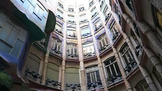 バルセロナ カサ・ミラ(ラ・パドレラ)中庭 ガウディ Barcelona CASA-M...