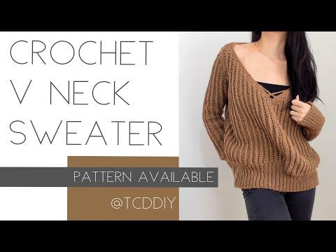 Crochet V Neck Sweater | Tutorial DIY