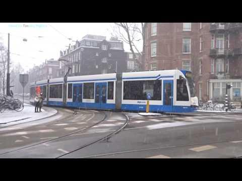 Trams in Snowstorm in Amsterdam, Netherlands 2017