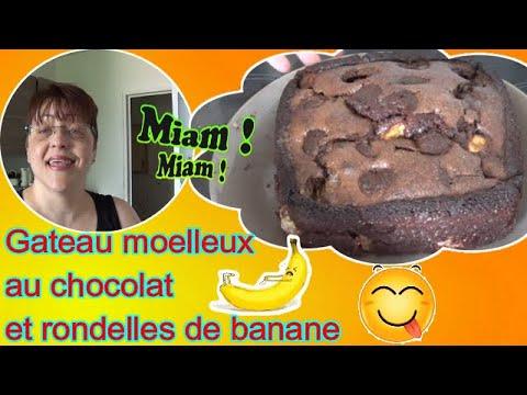 recette-sucree-facile---👩🍳🍌---gateau-fondant-chocolat-et-rondelles-de-bananes---🍫😋---septembre-2020