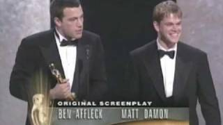 Ben Affleck and Matt Damon Win Original Screenplay: 1997 Oscars Poster