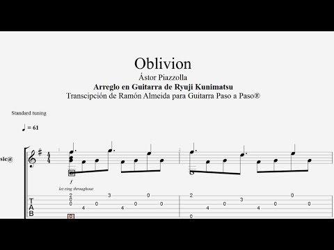OBLIVION - Astor Piazzolla - Tablatura por Ramón Almeida...