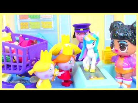 ben and holly morning routine #p shopping at peppa pig little grocery store