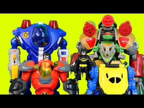 Imaginext Robot Wars Episode 5 Batman TMNT Bane Robin Lex Luthor Shredder Cyborg Robots