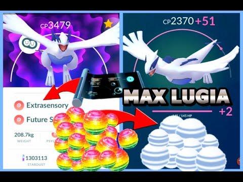 MAXING OUT LUGIA POKEMON GO   TMs on Lugia   Using 200k Stardust   Rare Candy Trick