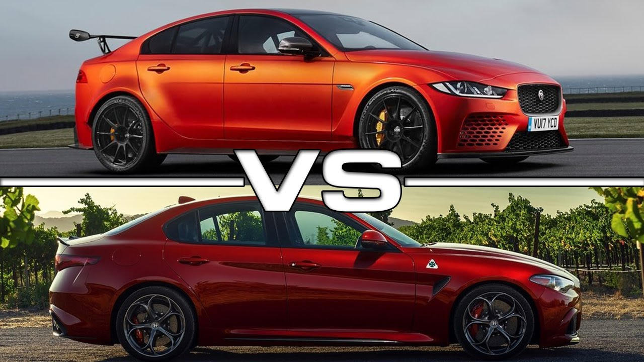 2018 jaguar xe sv project 8 vs 2017 alfa romeo giulia quadrifoglio youtube. Black Bedroom Furniture Sets. Home Design Ideas