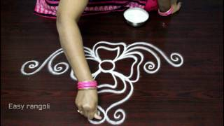 simple free hand rangoli designs with side borders || freehand kolam designs || muggulu side designs