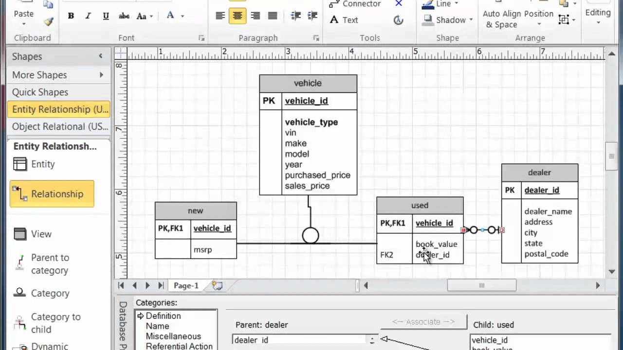 visio 2013 database model diagram