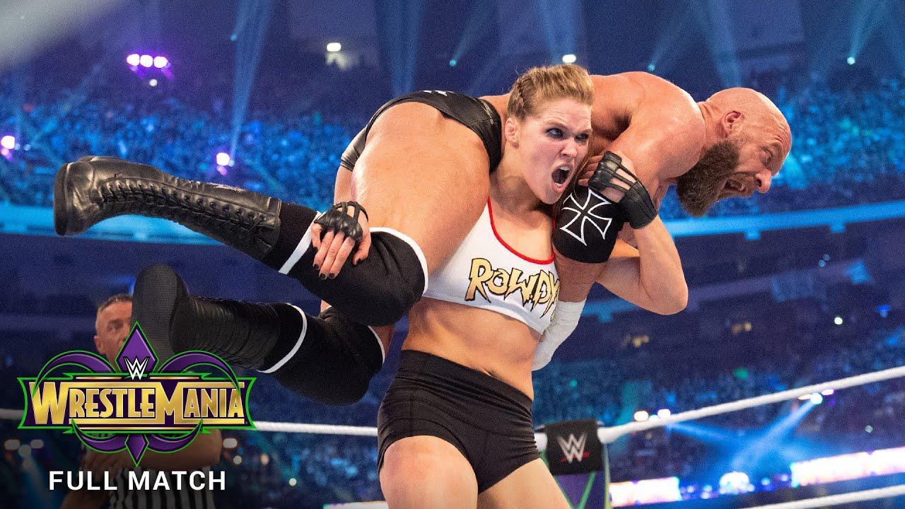 FULL MATCH - Ronda Rousey & Kurt Angle vs. Triple H & Stephanie: WrestleMania 34