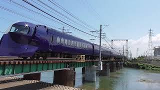 南海電鉄・男里川橋梁を通過する「ラピート」50000系(2019.7.7)