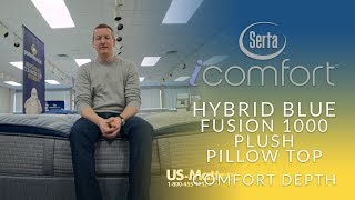 Serta iComfort Hybrid Blue Fusion 1000 Plush Pillow Top Mattress Comfort Depth 1
