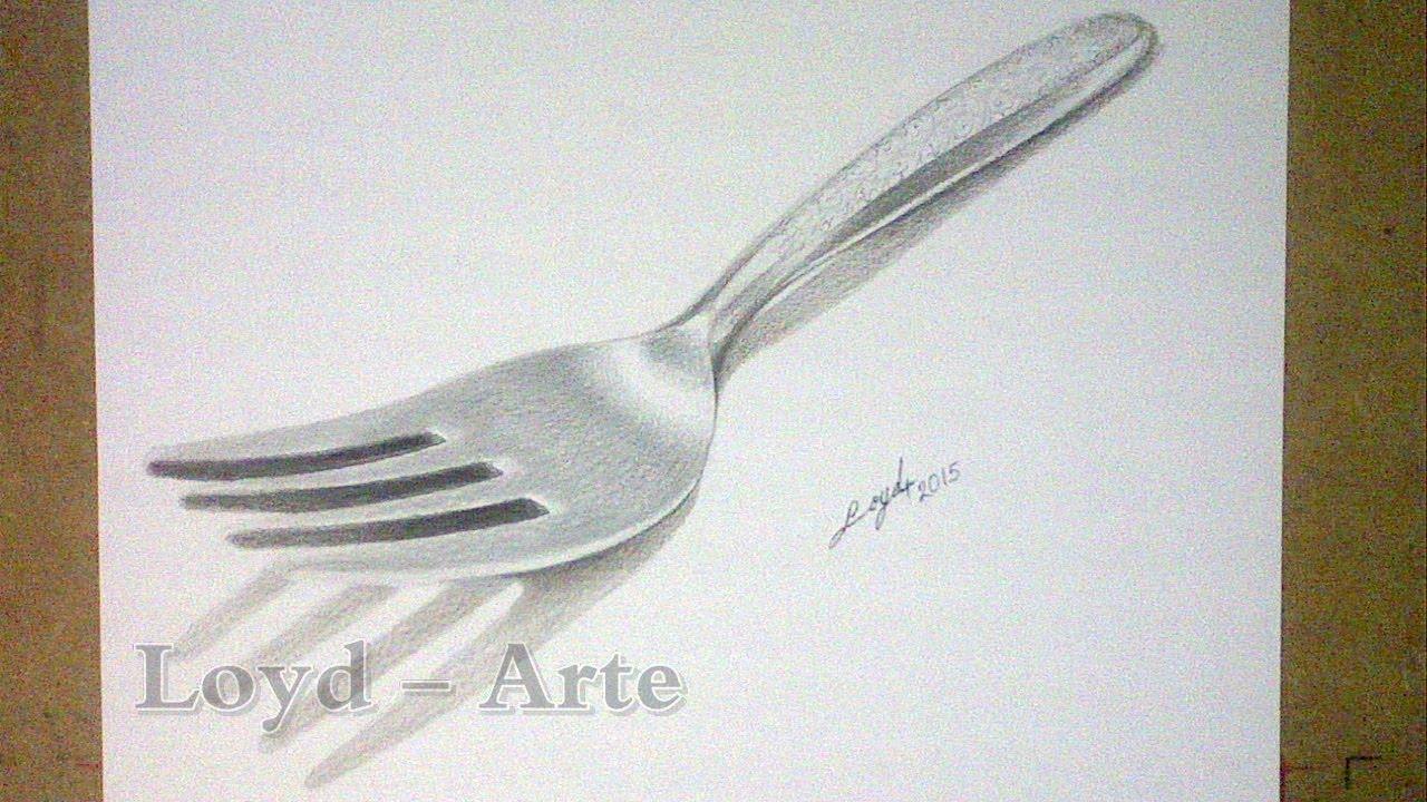 Tenedor Plateado Dibujo Lapices De Colores / Silver Fork